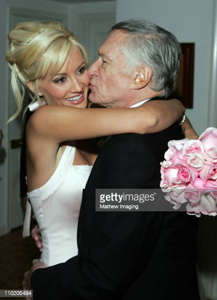 Holly Madison and Hugh Hefner at the wedding of Film director Charlie Matthau son of Carol and Walter Matthau and Ashley Lauren Anderson a former...