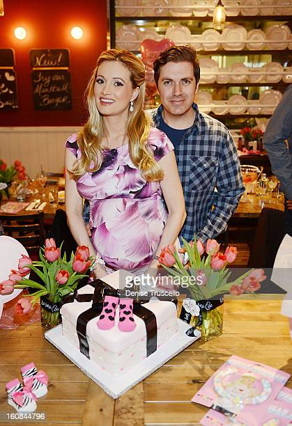 Holly Madison and Pasquale Rotella during the Las Vegas baby shower at Meatball Spot on February 2 2013 in Las Vegas Nevada