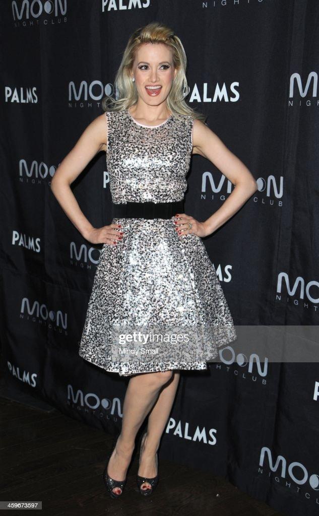 Holly Madison arrives at Moon nightclub at the Palms Casino Resort on December 28, 2013 in Las Vegas, Nevada.