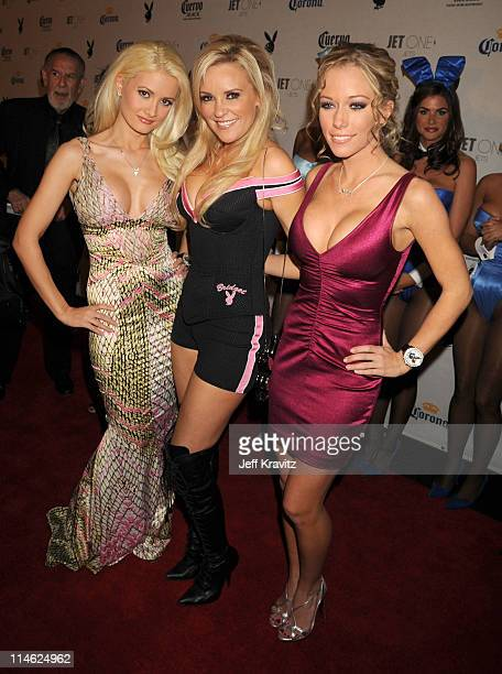 Holly Madison Bridgette Marquard and Kendra Wilkinson attend the Playboy's Super Saturday Night Party during Super Bowl Weekend on February 2 2008 in...
