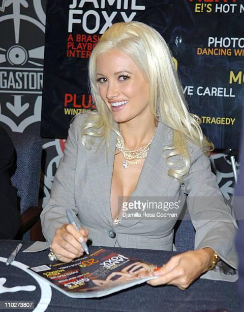 Holly Madison during Hugh Hefner Signs the November 2005 Issue of 'Playboy' at Virgin Megastore October 11 2005 at Virgin Megastore Times Square in...