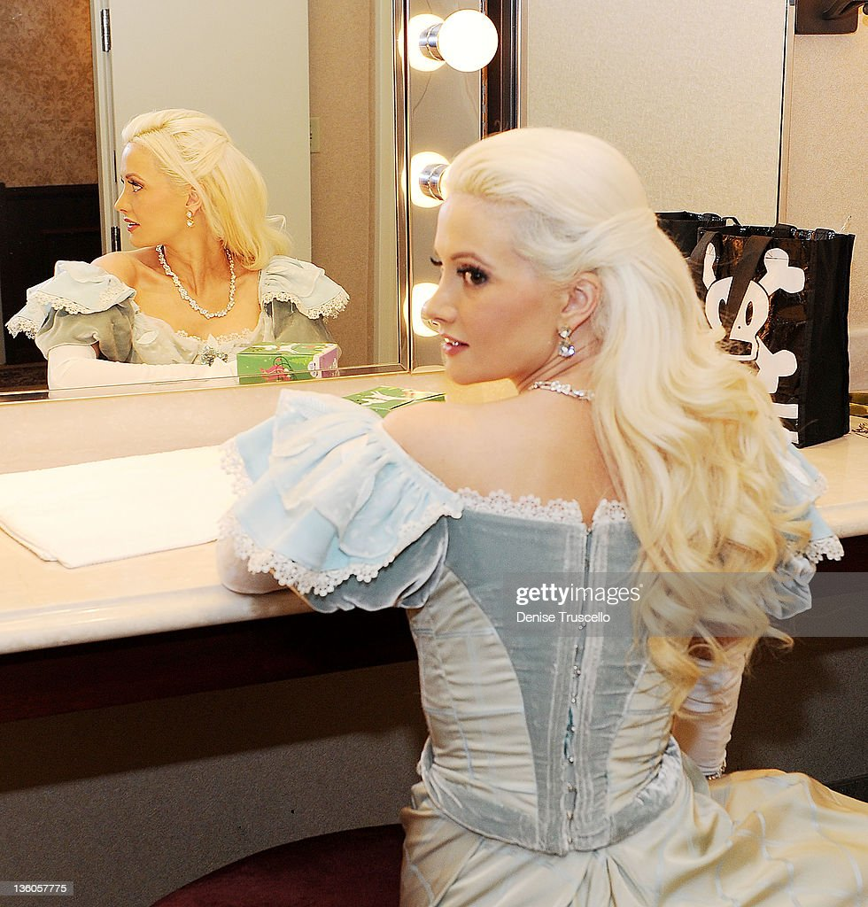 <a gi-track='captionPersonalityLinkClicked' href=/galleries/search?phrase=Holly+Madison&family=editorial&specificpeople=227275 ng-click='$event.stopPropagation()'>Holly Madison</a> looks on backstage before her appearance in Nevada Ballet Theatre's The Nutcracker performance at Paris Las Vegas on December 17, 2011 in Las Vegas, Nevada.