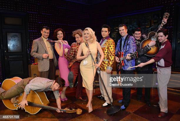Holly Madison poses for photos with The Million Dollar Quartet cast members Mikey Hachey Marc D Donovan Felice Garcia Martin Kaye Justin Shandor...