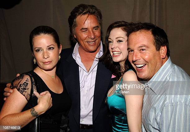 Holly Maire Combs of 'Charmed' Don Johnson of 'Just Legal' Rose McGowan of 'Charmed' and David Janollari president of WB Entertainment