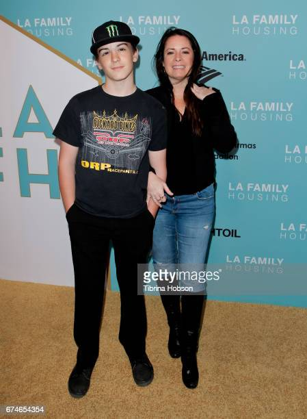 Holly Marie Combs and her son attend the LA Family Housing 2017 Awards at The Lot on April 27 2017 in West Hollywood California
