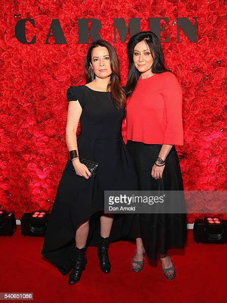 Holly Marie Combs and Shannen Doherty arrive ahead of opening night of Opera Australia's production of Carmen at Sydney Opera House on June 16 2016...