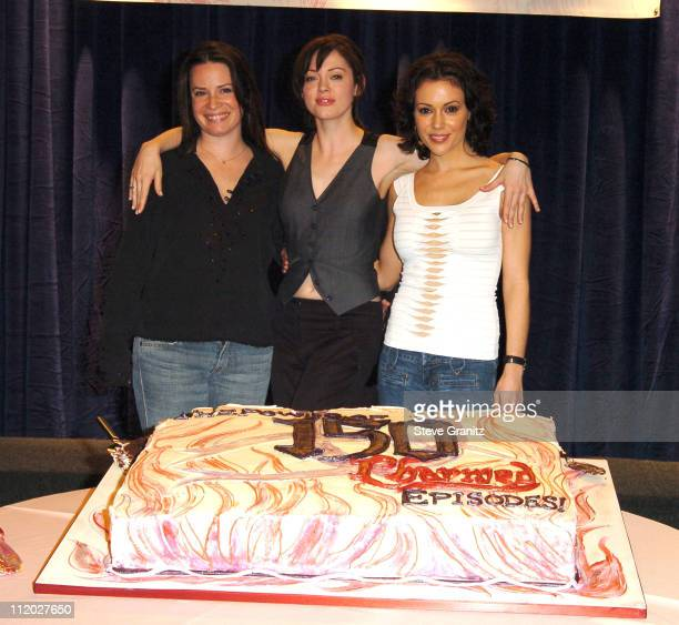 Holly Marie Combs Rose McGowan and Alyssa Milano during 'Charmed' Celebrates 150 Episodes and First Season on DVD at Paramount Studios in Los Angeles...