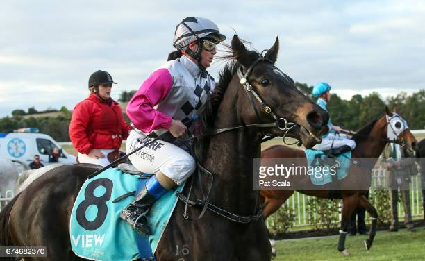 Holly McKechnie returns to the mounting yard on Lotza Kitty after winning WL â Billâ Biggin 0 58 Handicapat Ararat Racecourse on April 29 2017 in...