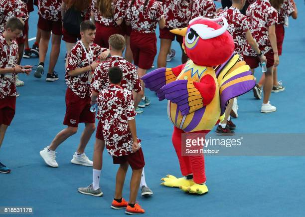 Holly Mills flagbearer for England leads her country during the 2017 Youth Commonwealth Games Opening Ceremony on day 1 of the 2017 Youth...