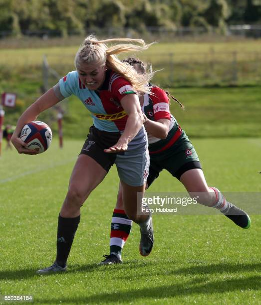 Holly Myers of Harlequins Ladies scores a try during the Tyrrells Premier 15s match between Harlequins Ladies and Firwood Waterloo Ladies at Surrey...