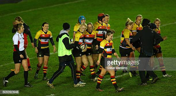 Holly Myers of Richmond Ladies celebrates scoring a try with her team mates during the Ladies Premiership Final match between Richmond Ladies and...