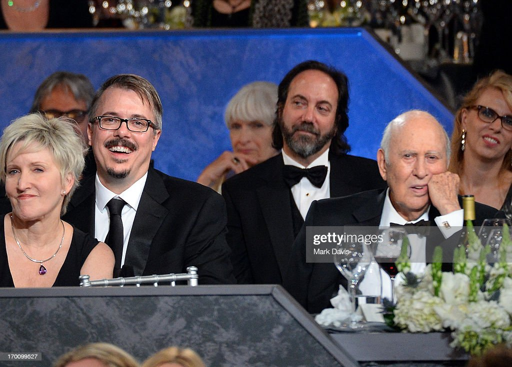 Holly Rice, Showrunner Vince Gilligan (2nd from L) and actor Carl Reiner (far R) in the audience during AFI's 41st Life Achievement Award Tribute to Mel Brooks at Dolby Theatre on June 6, 2013 in Hollywood, California. 23647_005_MD_0974.JPG