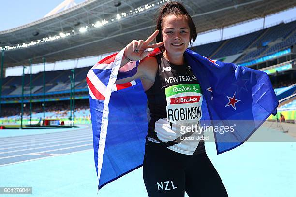 Holly Robinson of New Zealand celebrates after finishes in second place in the Women's Javelin Throw during day 6 of the Rio 2016 Paralympic Games at...