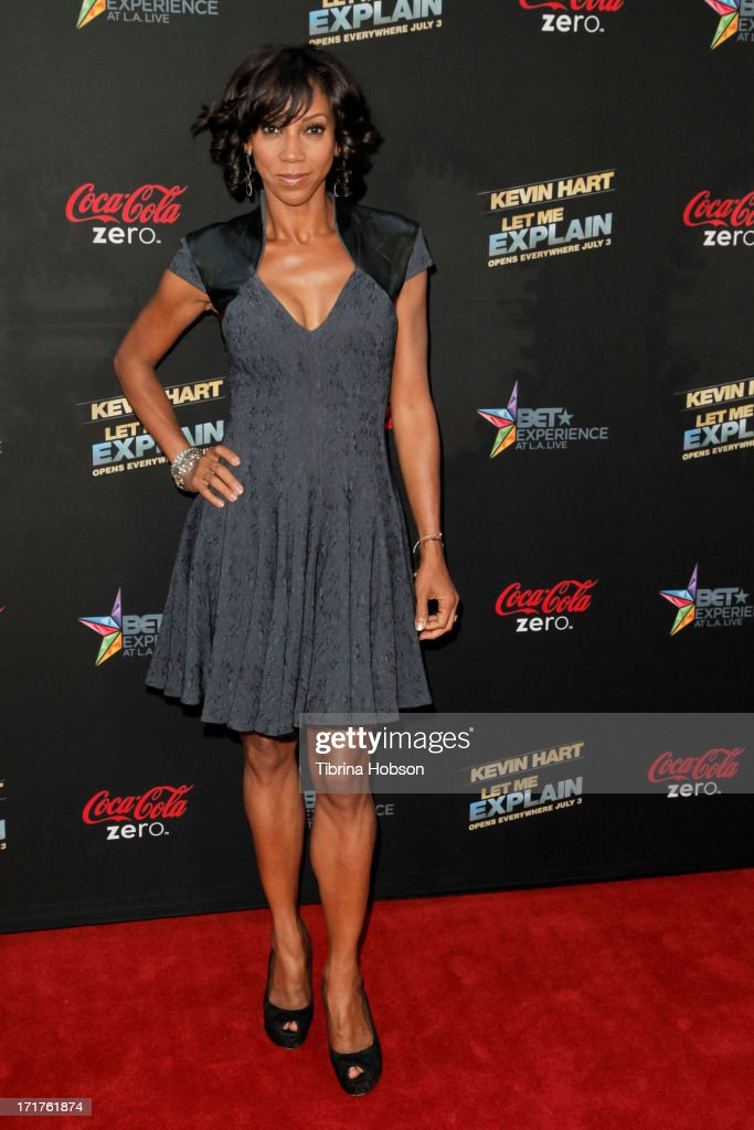 <a gi-track='captionPersonalityLinkClicked' href=/galleries/search?phrase=Holly+Robinson+Peete&family=editorial&specificpeople=213716 ng-click='$event.stopPropagation()'>Holly Robinson Peete</a> attends the 'Kevin Hart: Let Me Explain' Los Angeles premiere at Regal Cinemas L.A. Live on June 27, 2013 in Los Angeles, California.
