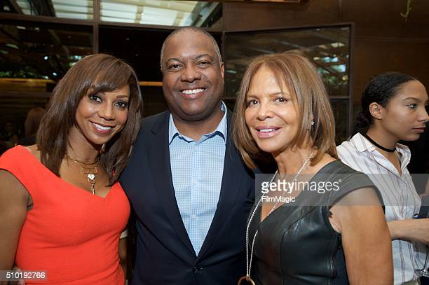 Holly Robinson Peete Rodney Peete and Sylvia Rhone attend the LA Reid 'Sing To Me' PreGrammy Brunch at Hinoki The Bird on February 13 2016 in Los...