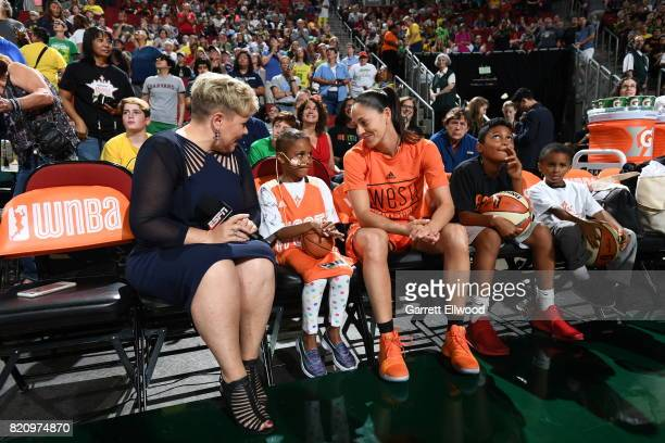 Holly Rowe and Sue Bird of the Seattle Storm sit with Eniyah Washington before the Verizon WNBA AllStar Game 2017 at KeyArena on July 22 2017 in...