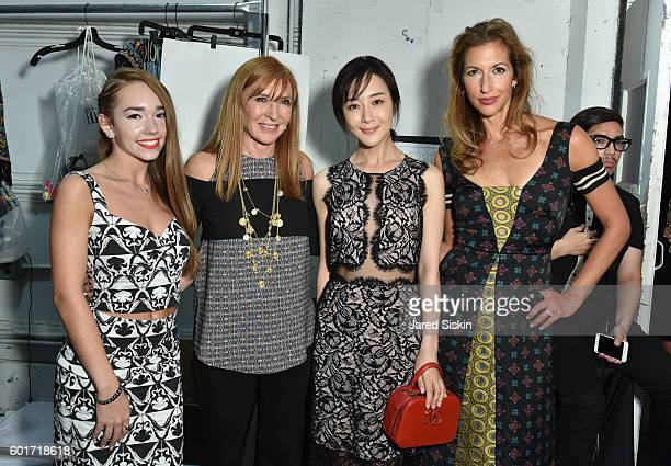 Holly Taylor Nicole Miller Li Xiaoyi and Alysia Reiner backstage at the Nicole Miller Spring 2017 Fashion Show at Skylight Clarkson Square on...