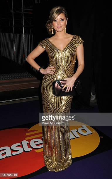 Holly Valance arrives at The Brit Awards 2010 at Earls Court One on February 16 2010 in London England