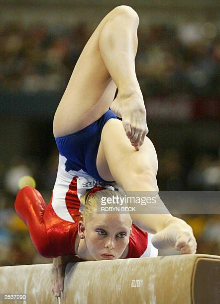 Holly Vise of the US performs on the balance beam during women's team final at the World Championships Artistic Gymnastics competition at the Anaheim...