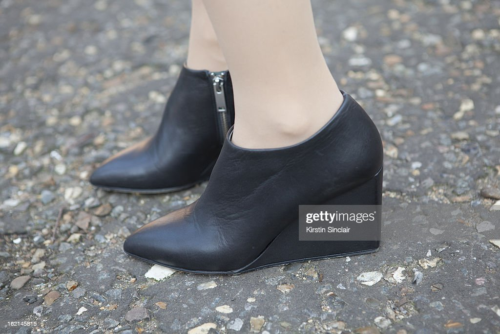 Holly Von Bock fashion blogger wearing Cos shoes, on day 5 of London Fashion Week Autumn/Winter 2013 on February 19, 2013 in London, England.