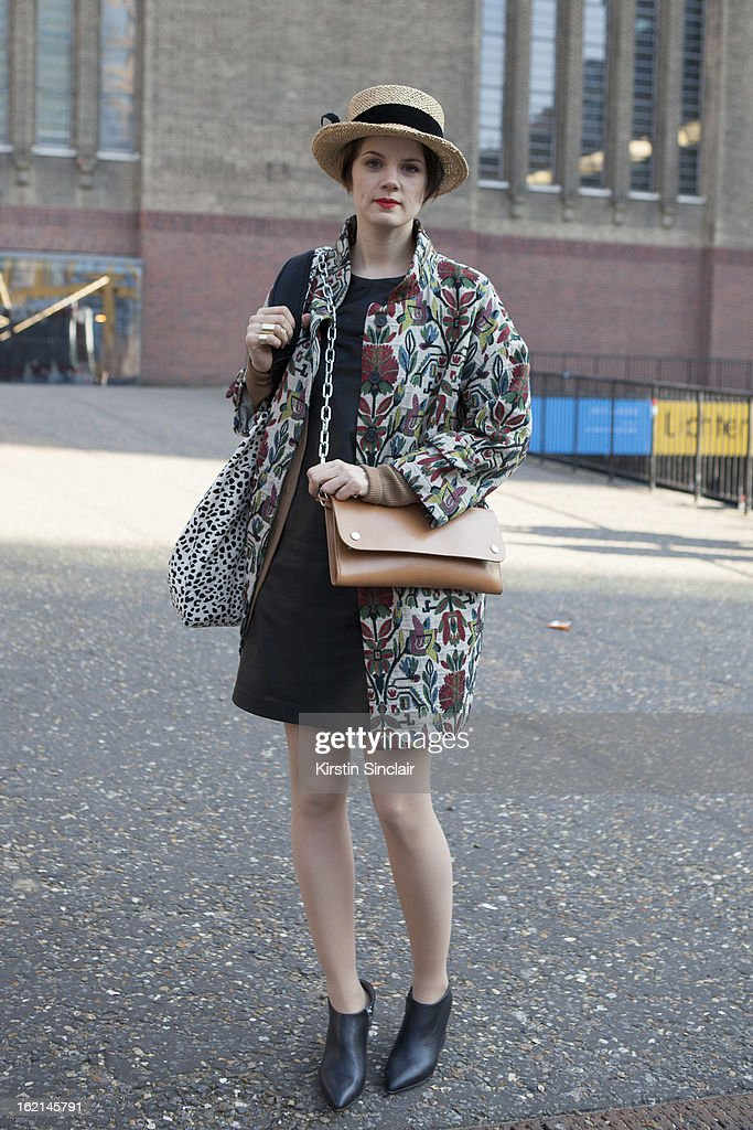 Holly Von Bock fashion blogger wearing vintager hat, Zara jacket, Cos dress and shoes, Acne bag, on day 5 of London Fashion Week Autumn/Winter 2013 on February 19, 2013 in London, England.