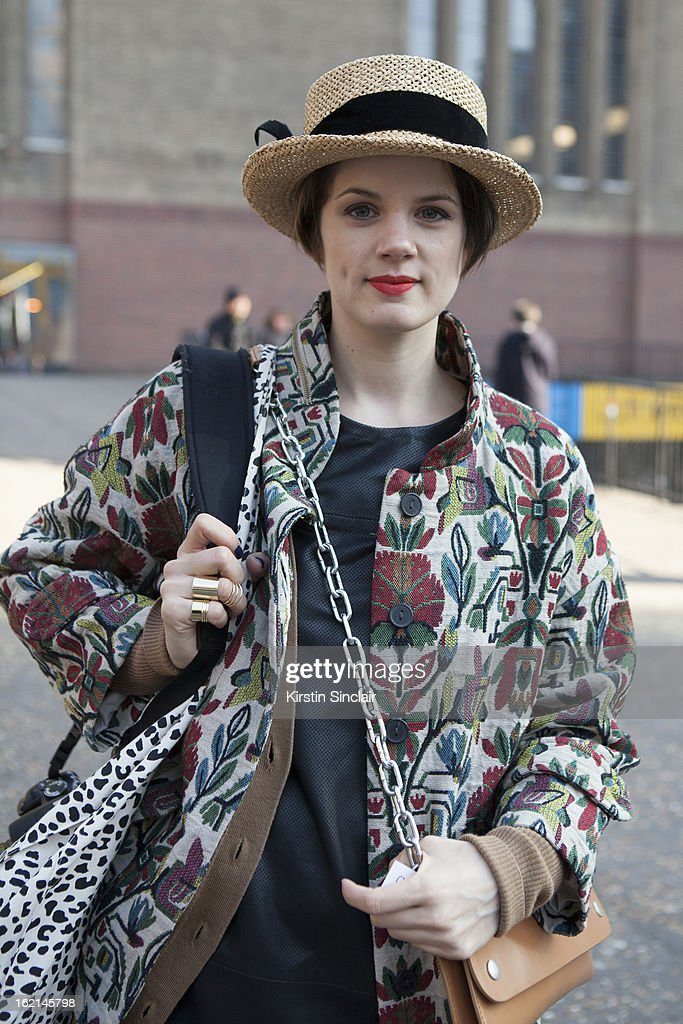 Holly Von Bock fashion blogger wearing vintager hat, Zara jacket, Cos dress, Acne bag, on day 5 of London Fashion Week Autumn/Winter 2013 on February 19, 2013 in London, England.