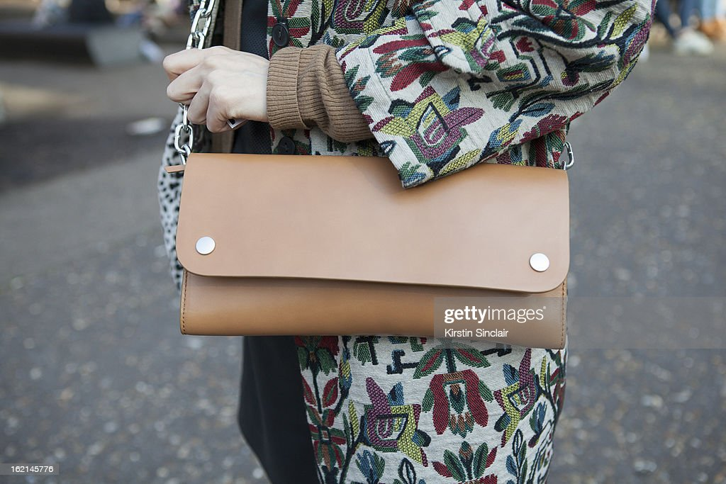 Holly Von Bock fashion blogger wearing Zara jacket, Acne bag, on day 5 of London Fashion Week Autumn/Winter 2013 on February 19, 2013 in London, England.