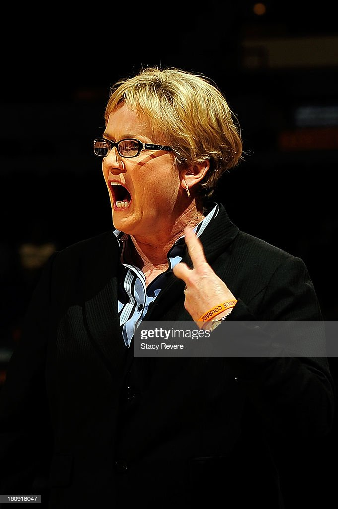 Holly Warlick, head coach of the Tennessee Volunteers disputes a call during a game against the LSU Tigers at the Pete Maravich Assembly Center on February 7, 2013 in Baton Rouge, Louisiana.