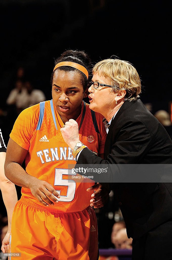 Holly Warlick, head coach of the Tennessee Volunteers gives instructions to Ariel Massengale #5 during a game against the LSU Tigers at the Pete Maravich Assembly Center on February 7, 2013 in Baton Rouge, Louisiana. Tennessee won the game 64-62.