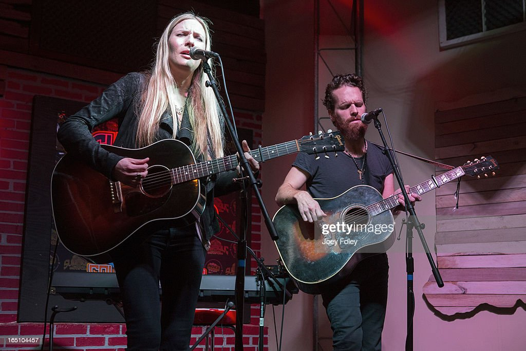 Holly Williams and Chris Coleman perform in concert at Do317 Lounge on March 29, 2013 in Indianapolis, Indiana.