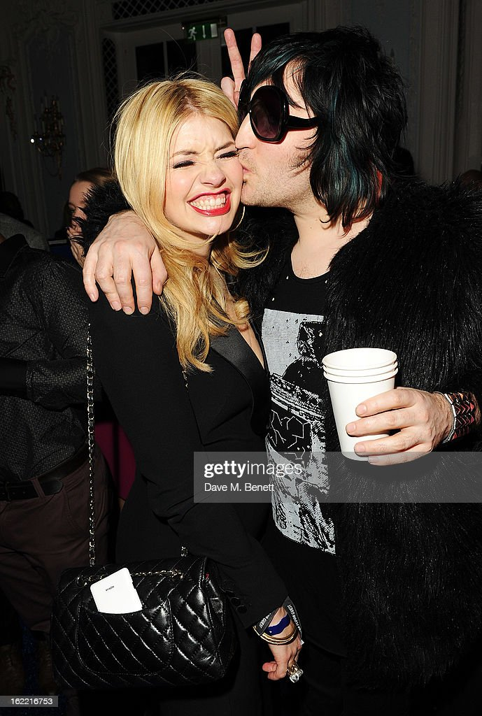Holly Willoughby and Noel Fielding attend the Warner Music Group Post BRIT Party In Association With Samsung at The Savoy Hotel on February 20, 2013 in London, England.