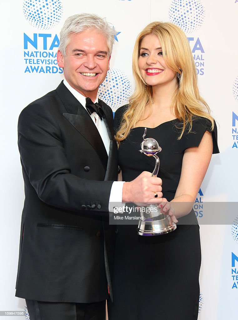 Holly Willoughby and Phillip Schofield poses in the winners room at the National Television Awards at 02 Arena on January 23, 2013 in London, England.