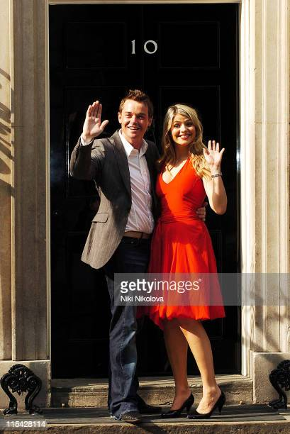 Holly Willoughby and Stephen Mulhern during First News Launch Reception Outside Arrivals at 11 Downing Street in London Great Britain