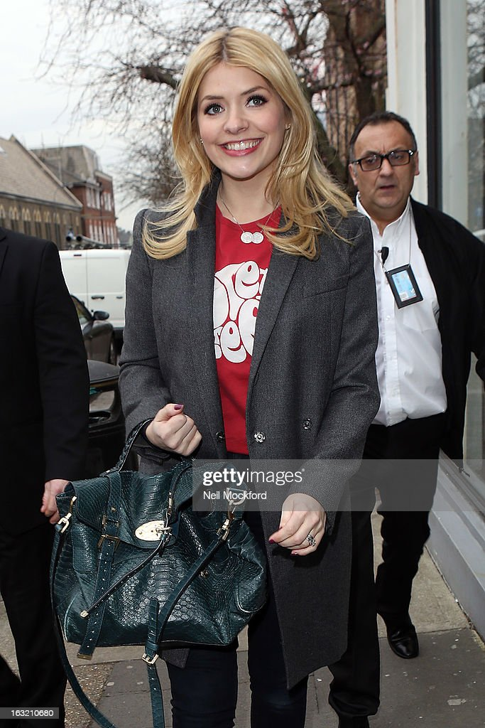 Holly Willoughby arriving at Riverside Studios for Celebrity Juice on March 6, 2013 in London, England.
