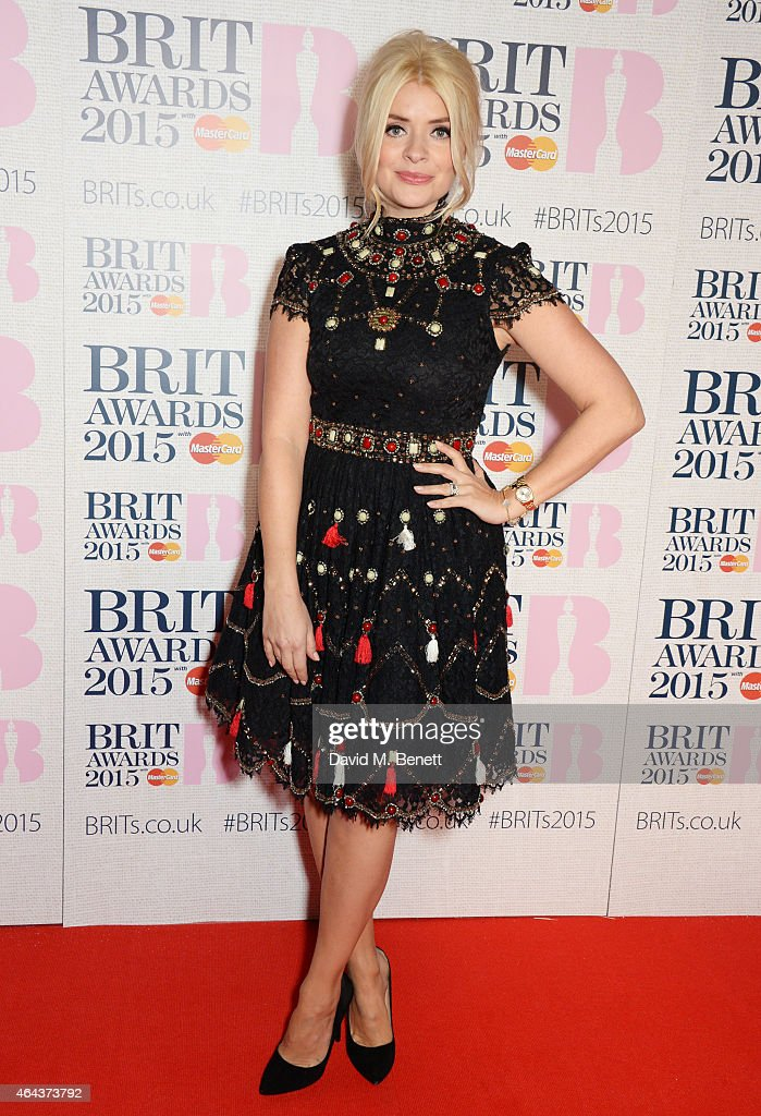 Holly Willoughby attends the BRIT Awards 2015 at The O2 Arena on February 25 2015 in London England