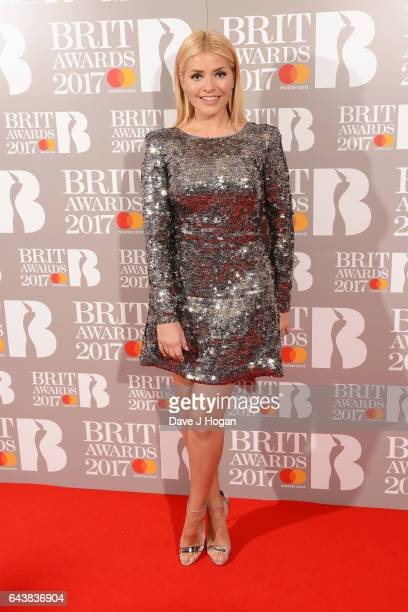 ONLY Holly Willoughby attends The BRIT Awards 2017 at The O2 Arena on February 22 2017 in London England