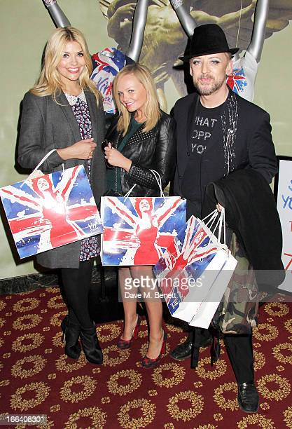 Holly Willoughby Emma Bunton and Boy George visit the West End production of 'Viva Forever' at the Piccadilly Theatre on April 11 2013 in London...