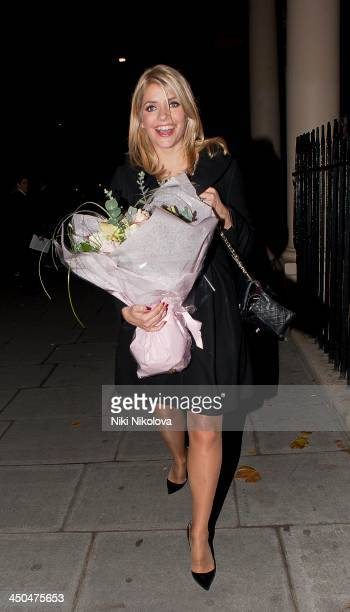 Holly Willoughby is sighted leaving Home House on November 18 2013 in London England