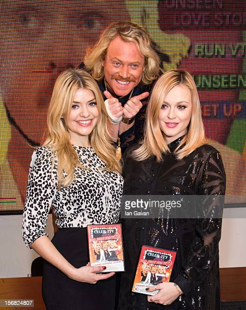 Holly Willoughby Keith Lemon and Fearne Cotton attend the DVD signing for 'Celebrity Juice Too Juicy For TV 2' at HMV Oxford Street on November 22...