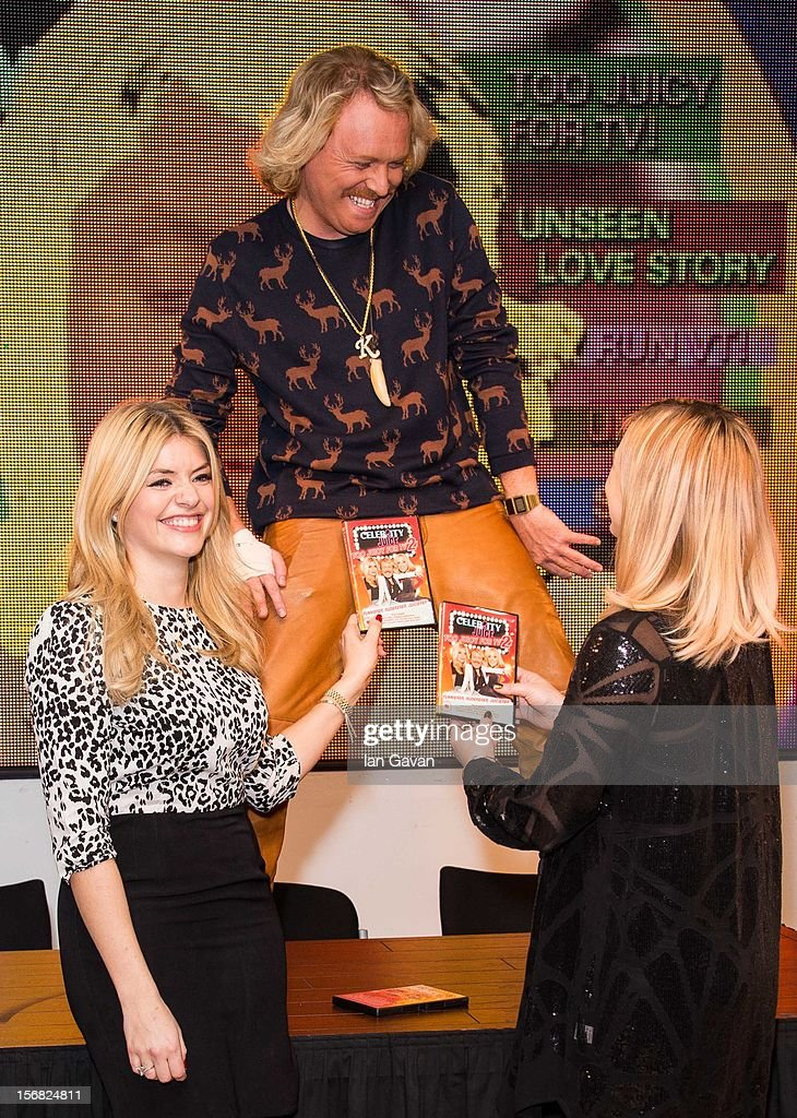 Holly Willoughby, Keith Lemon and Fearne Cotton attend the DVD signing for 'Celebrity Juice: Too Juicy For TV 2' at HMV, Oxford Street on November 22, 2012 in London, England.
