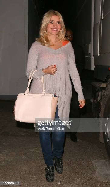 Holly Willoughby leaving Celebrity Juice on April 9 2014 in London England