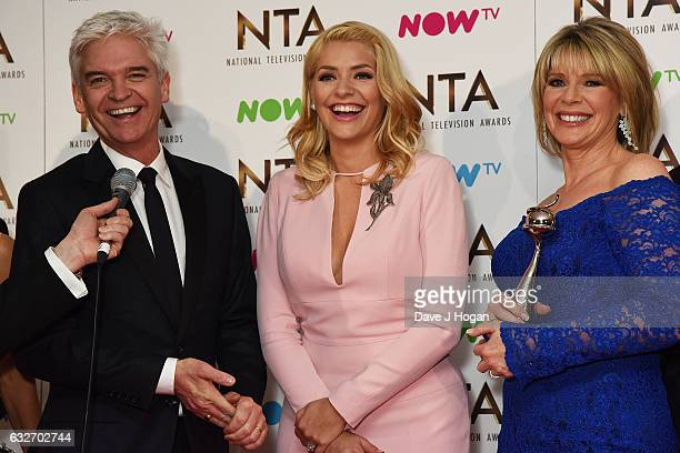 Holly Willoughby Phillip Schofield and Ruth Langsford of This Morning pose in the winners room at the National Television Awards at The O2 Arena on...