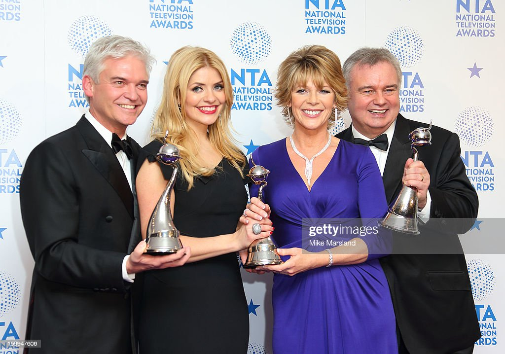 Holly Willoughby, Phillip Schofield, Ruth Langsford and Eamon Holmes poses in the winners room at the National Television Awards at 02 Arena on January 23, 2013 in London, England.