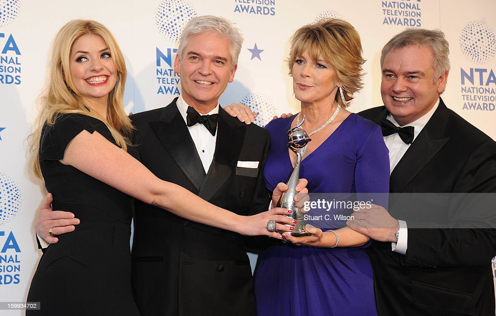 Holly Willoughby, Phillip Schofield, Ruth Langsford and Eamonn Holmes pose in the Winners room at the National Television Awards at 02 Arena on January 23, 2013 in London, England.