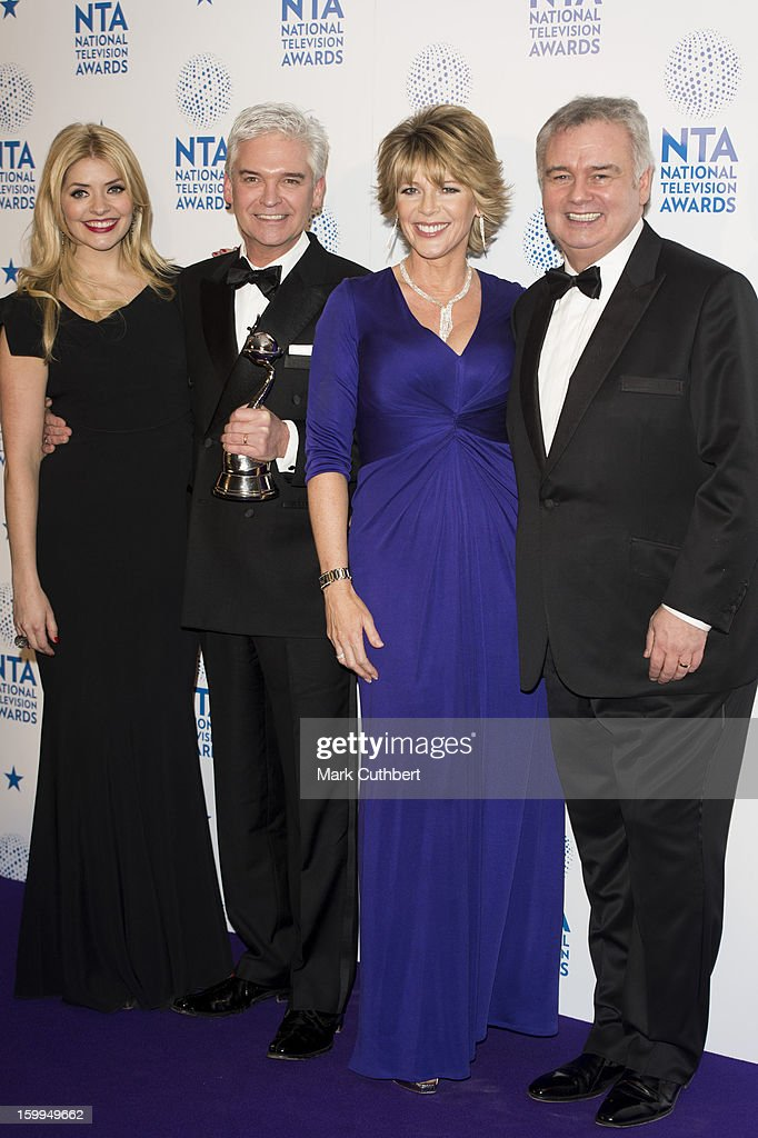 Holly Willoughby, Phillip Schofield, Ruth Langsford and Eamonn Holmes, winners of Daytime award poses in the Winners room at the National Television Awards at 02 Arena on January 23, 2013 in London, England.