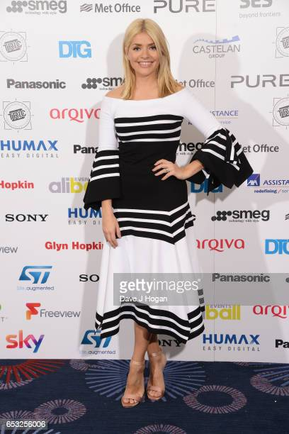 Holly Willoughby poses in the winners room at the TRIC Awards 2017 at The Grosvenor House Hotel on March 14 2017 in London England