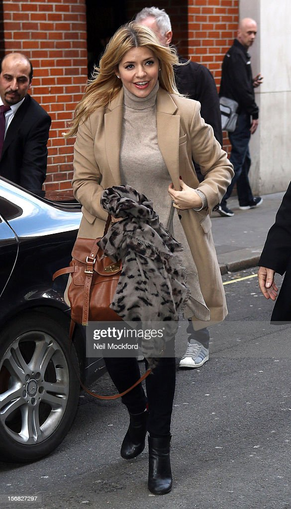 Holly Willoughby seen arriving at HMV Oxford St for their 'Celebrity Juice' DVD signing on November 22, 2012 in London, England.
