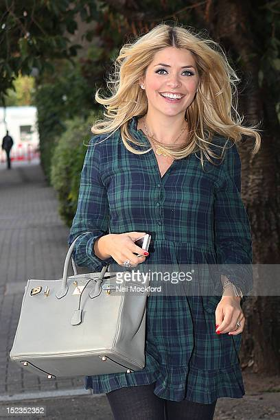Holly Willoughby seen arriving at Riverside Studios to film Celebrity Juice on September 19 2012 in London England