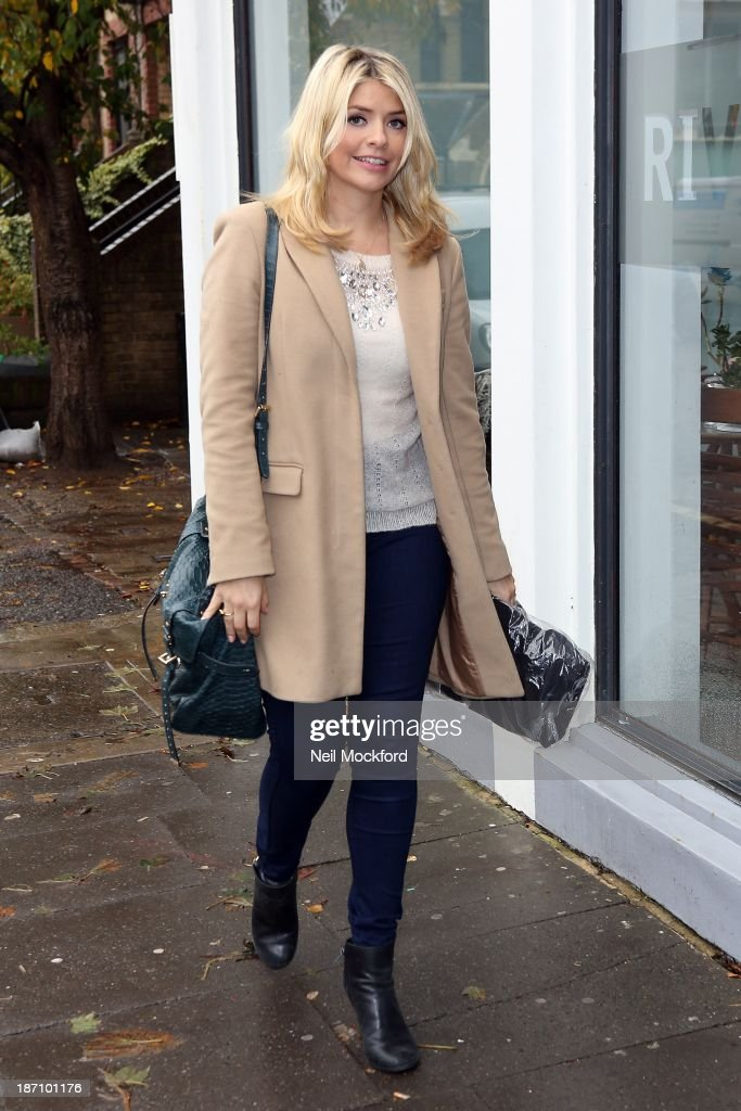 Holly Willoughby seen arriving at Riverside Studios to film Celebrity Juice on November 6 2013 in London England