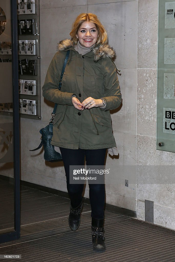 Holly Willoughby seen at BBC Radio One on February 28, 2013 in London, England.